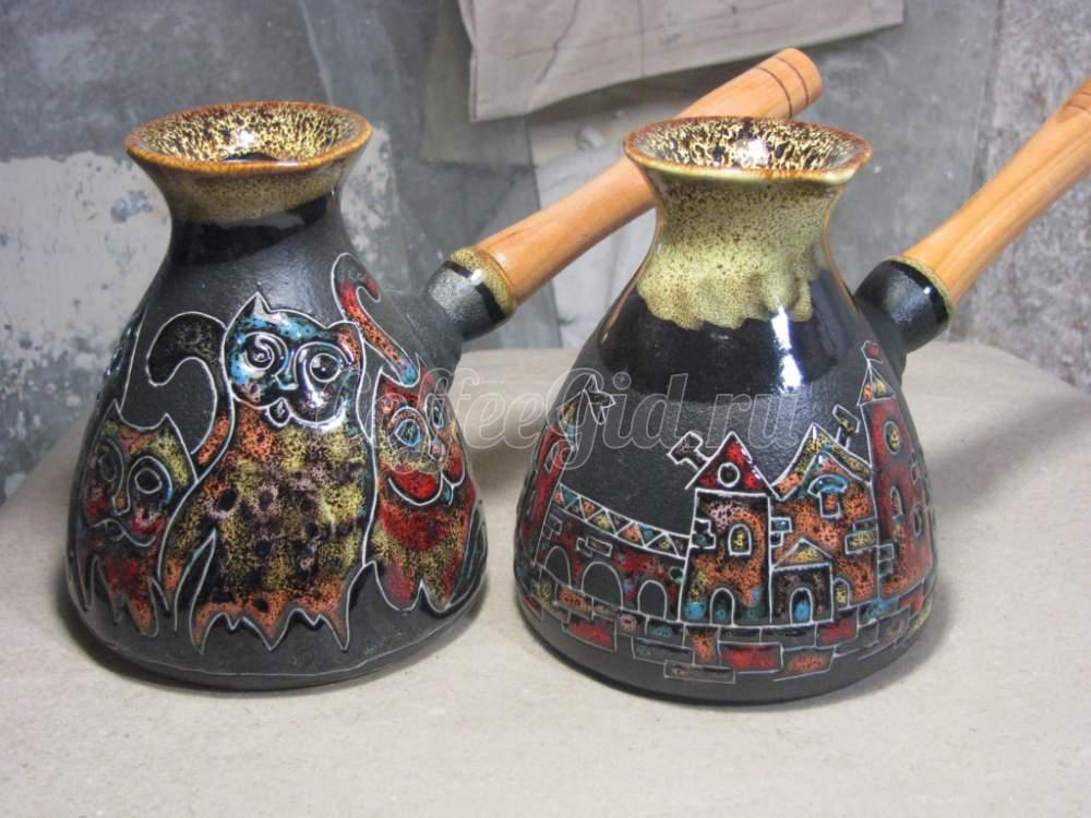 керамическая турка с рисунком