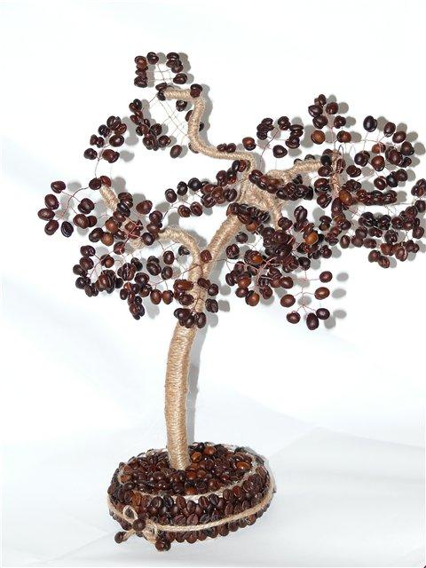 денежное дерево с кофе и мешковины