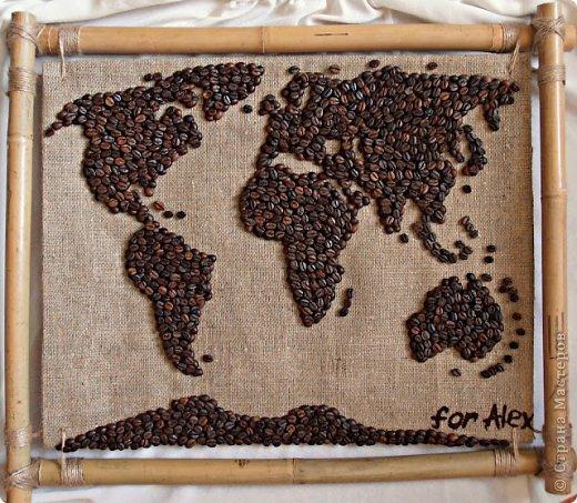 картины с кофе и мешковины