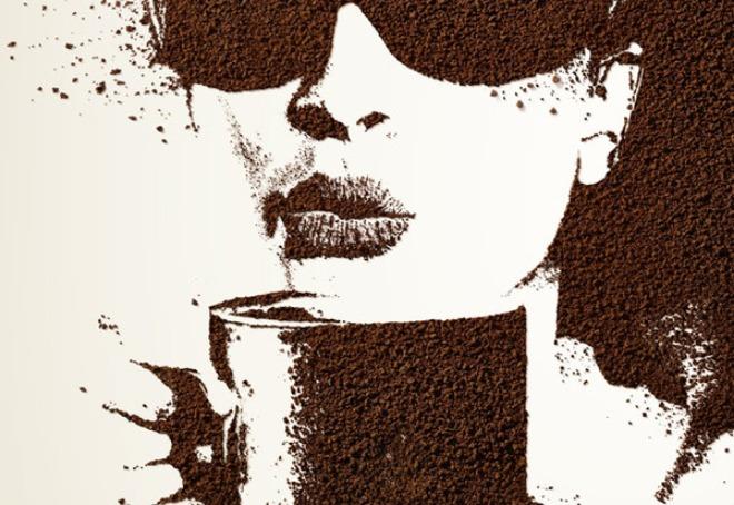 панно с молотого кофе