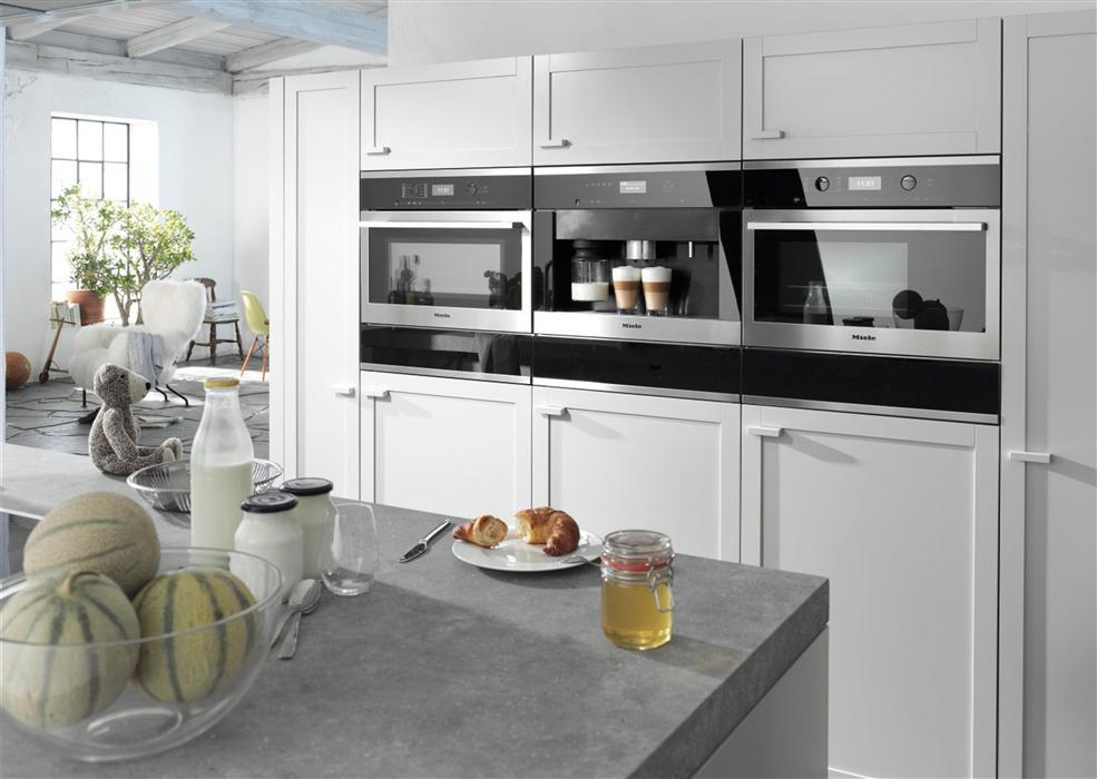 встроенная кофемашина в кухне