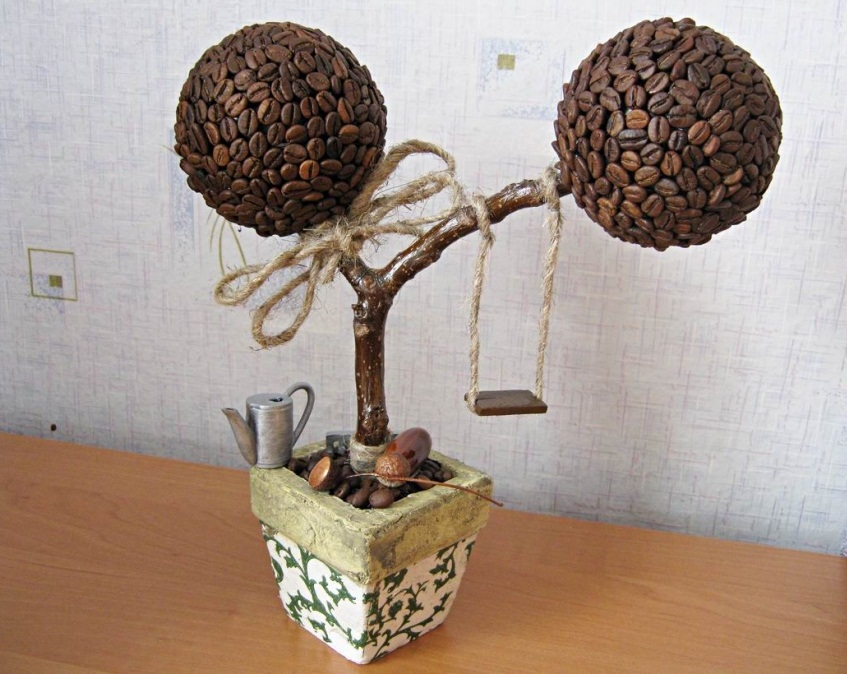 Кофейное дерево из зерен своими руками фото
